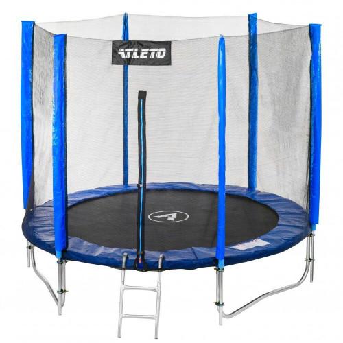 Батут Atleto 183 см с двойными ногами с сеткой синий + лестница (21000603)